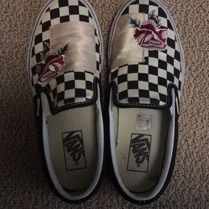 Vans size 7 slip on with embroidered rose detail